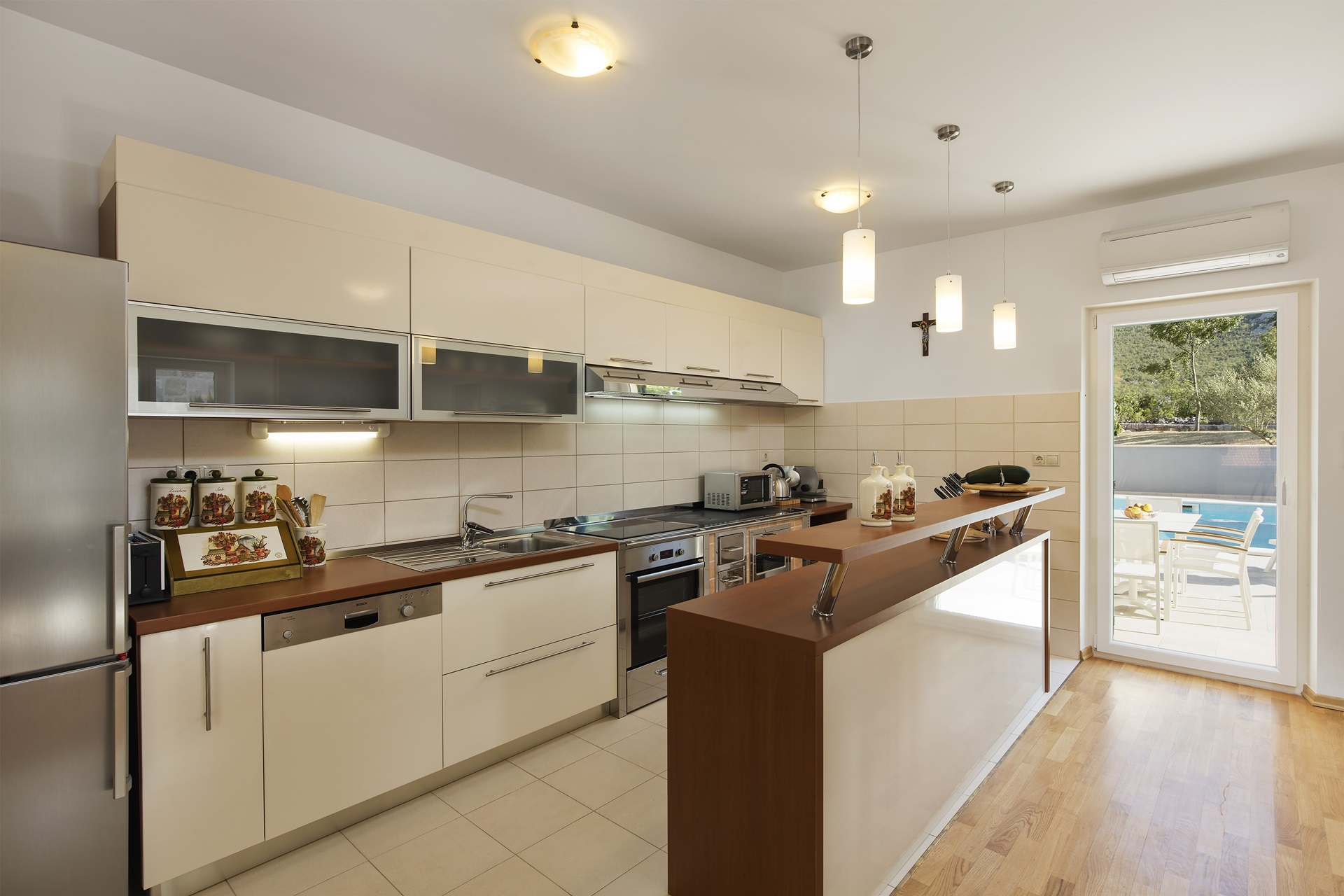 Open plan kitchen in the Villa Roglic