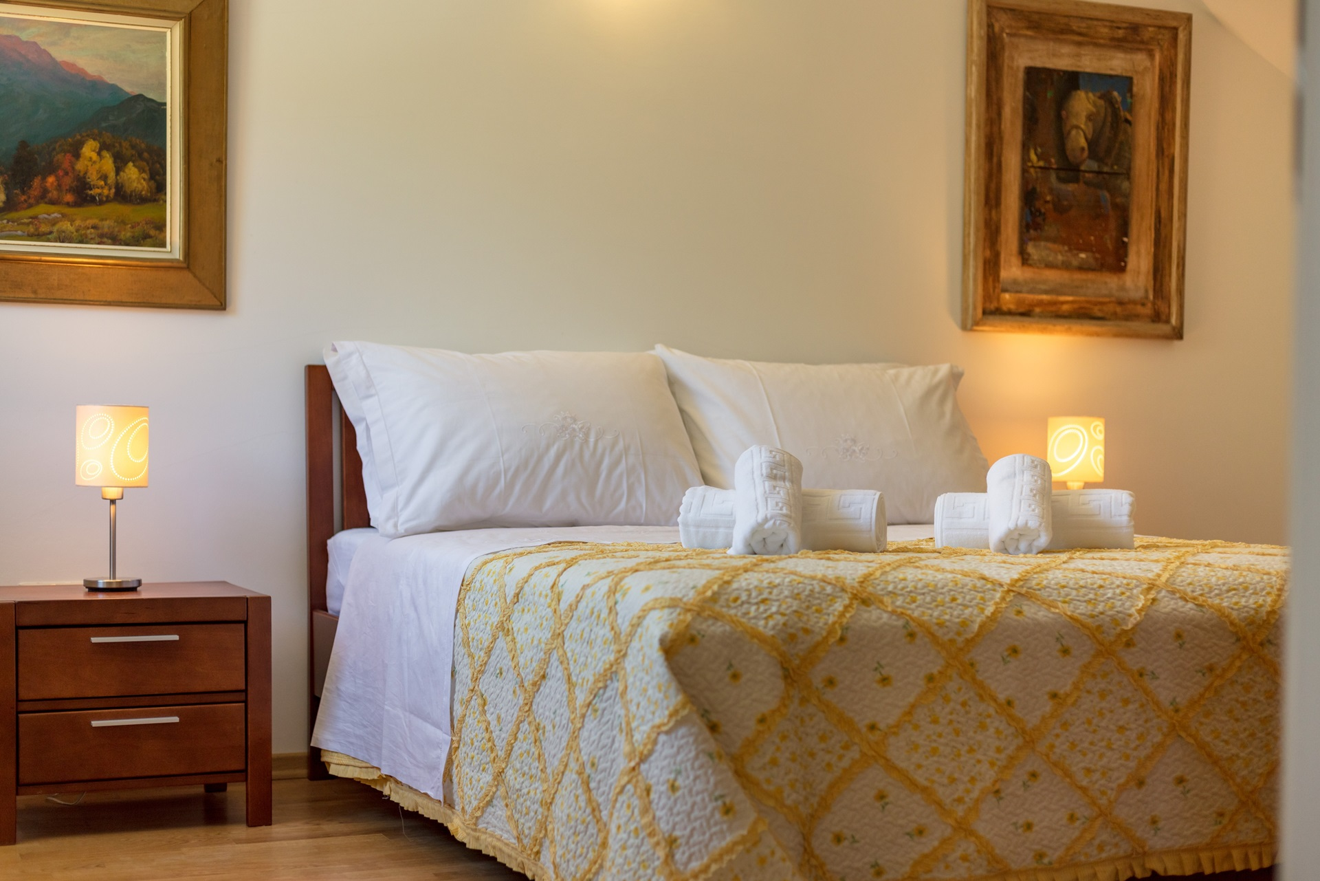 Comfortable bed in the sleeping room of Villa Roglic