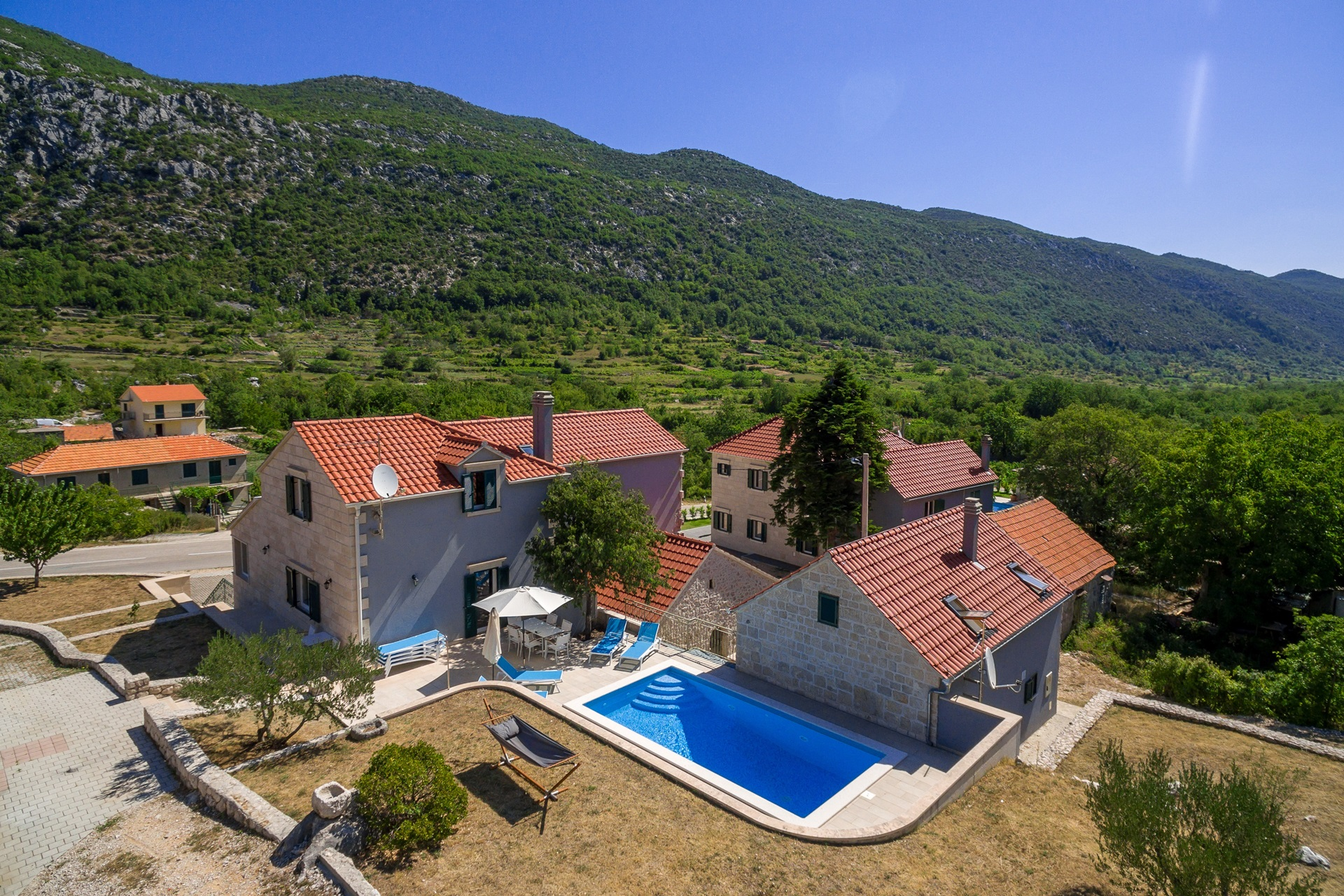 Villa Roglic property with the private swimming pool and lounge area for renting