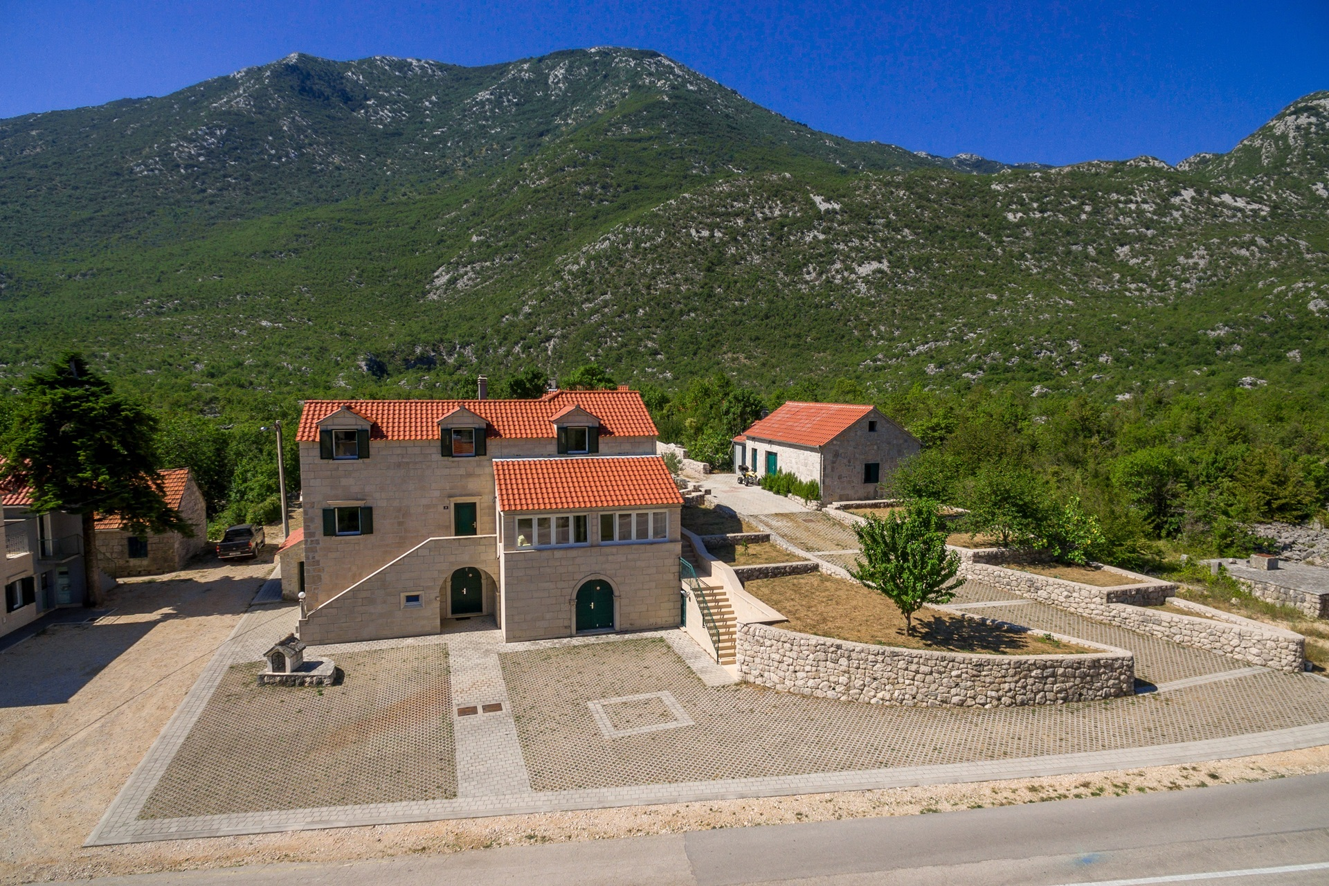Drone view on the Villa Roglic and its property